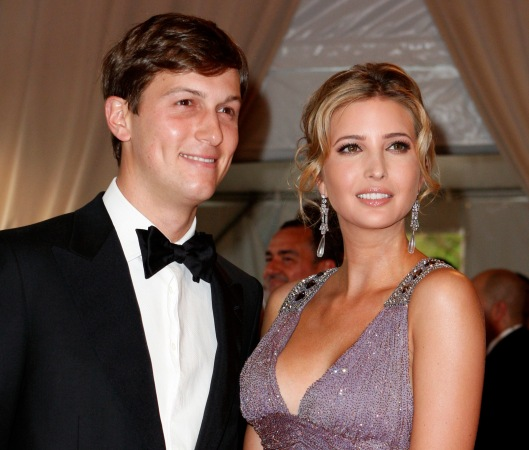 "Kushner and Ivanka Trump pose at the Metropolitan Museum of Art Costume Institute Benefit celebrating the opening of ""American Woman: Fashioning a National Identity"" in New York"